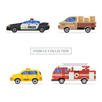 Zestaw ilustracji kolekcji pojazdów publicznych