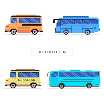 Zestaw ilustracji kolekcji pojazdu autobusowego
