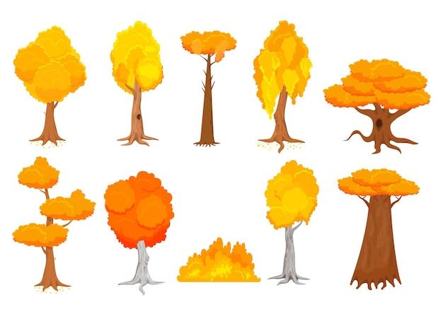 Zestaw Ilustracji Kolorowych Drzew Jesień Kreskówka Premium Wektorów