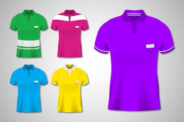 Zestaw ilustracji kolorowych koszulek polo