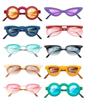 Zestaw ilustracji kolorowych okularów