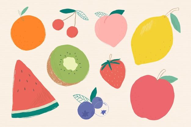 Zestaw ilustracji kolorowych owoców mieszanych