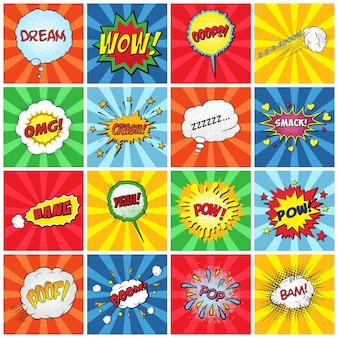 Zestaw ilustracji komiksów efektów dźwiękowych