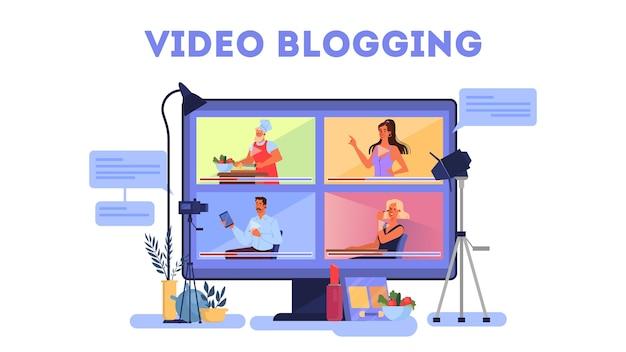 Zestaw ilustracji koncepcja bloggera. udostępniaj treści w internecie.