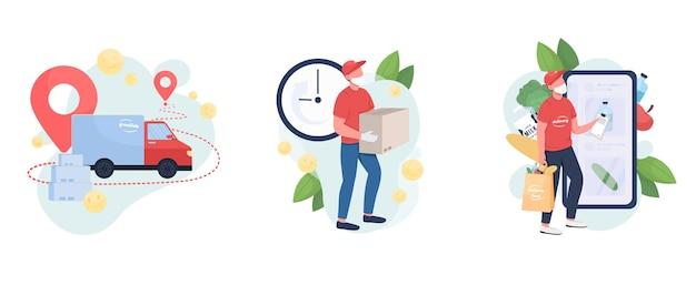Zestaw ilustracji koncepcja dostawy pakietu