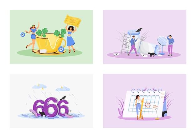 Zestaw ilustracji koncepcja płaskie przesądy