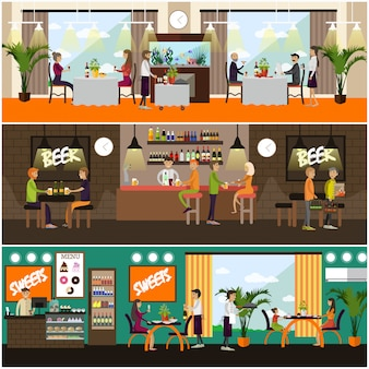 Zestaw ilustracji koncepcja pub i restauracja, płaski