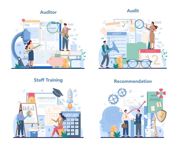 Zestaw ilustracji koncepcji audytu