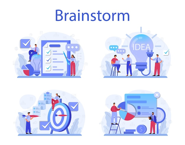 Zestaw ilustracji koncepcji burzy mózgów