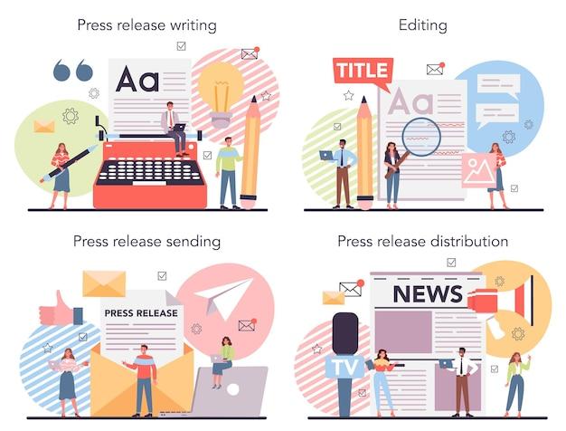Zestaw ilustracji koncepcji komunikatu prasowego