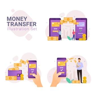 Zestaw ilustracji koncepcji projektu pieniędzy przelewu online