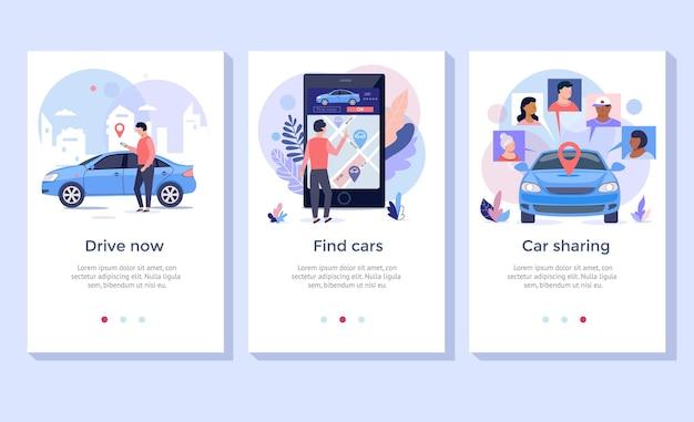 Zestaw ilustracji koncepcji udostępniania samochodów, idealny na baner, aplikację mobilną, stronę docelową