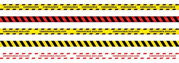Zestaw ilustracji koronawirusa 2019-ncov, bezszwowe żółte i czerwone taśmy bezpieczeństwa