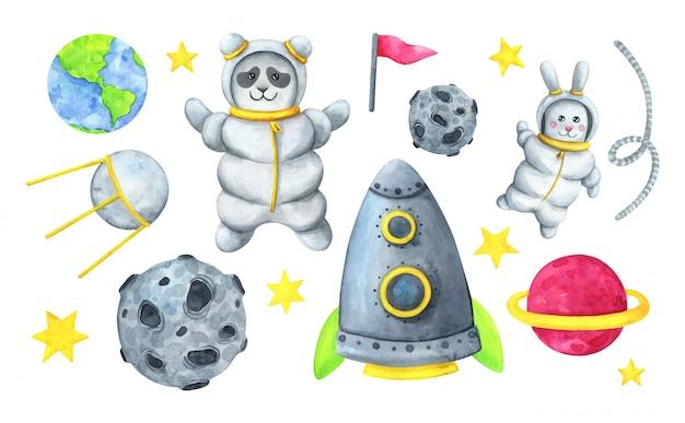 Zestaw ilustracji kosmicznych z kreskówkowymi astronautami, rakietą, planetą i satelitą.