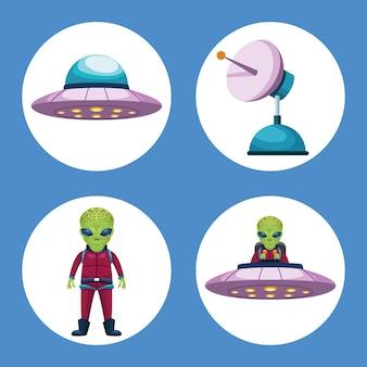 Zestaw ilustracji kosmitów i statków kosmicznych