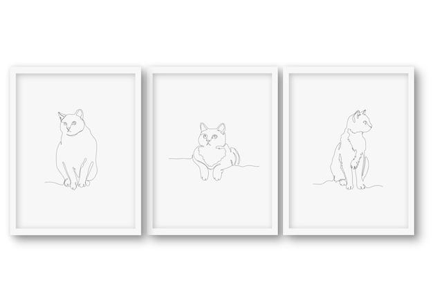 Zestaw ilustracji kota w jednym wierszu