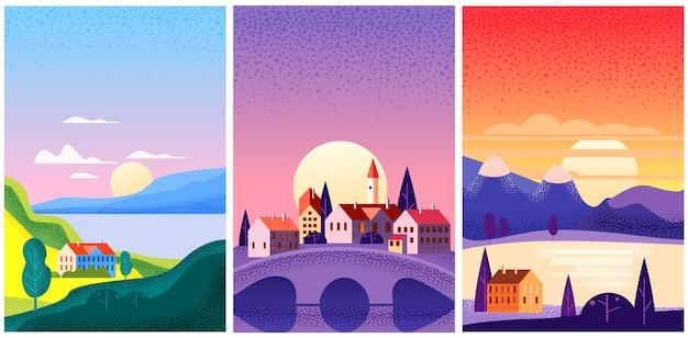 Zestaw ilustracji krajobraz lato
