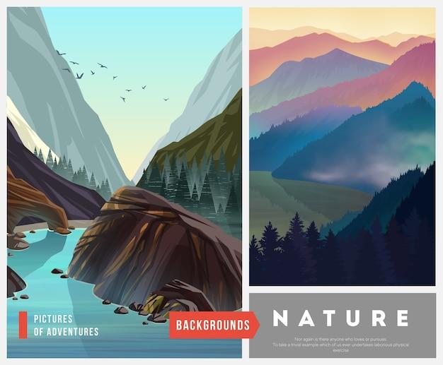 Zestaw ilustracji krajobraz przyrody z sylwetkami gór i drzew.