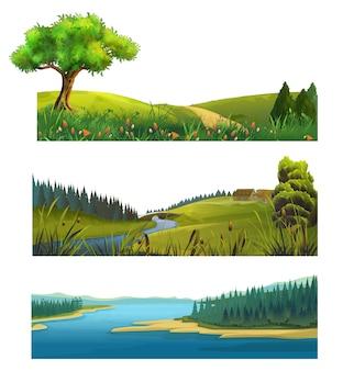 Zestaw ilustracji krajobraz przyrody