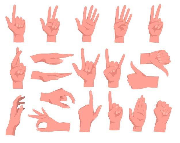 Zestaw ilustracji kreskówek gestów rąk