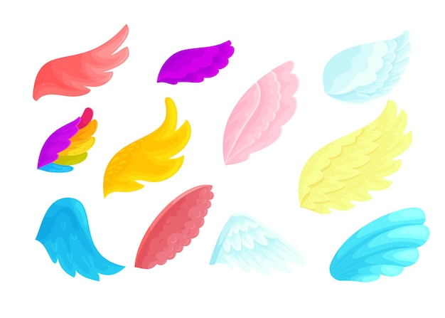 Zestaw ilustracji kreskówek kolorowych aniołów i wróżek kolor tęczy, czerwone i różowe części ciała magicznych ptaków do latania. niebieskie i żółte skrzydła na białym tle