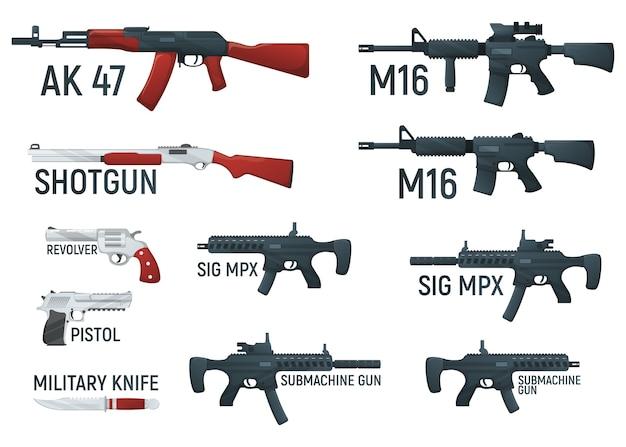 Zestaw ilustracji kreskówka broni wojskowej broni palnej, na białym tle biały.