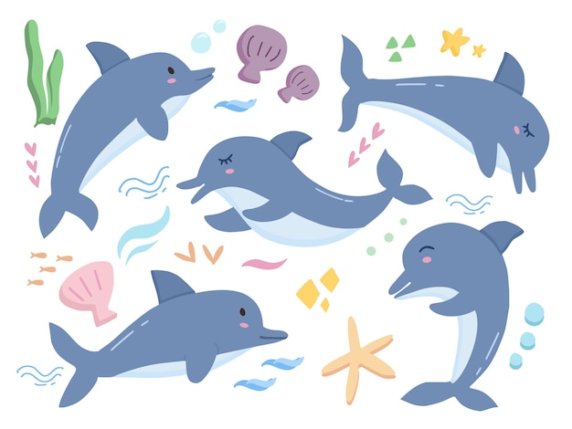 Zestaw ilustracji kreskówka delfinów słodkie dziecko