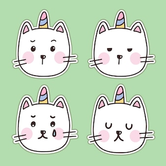 Zestaw ilustracji kreskówka naklejki ładny biały kot jednorożca