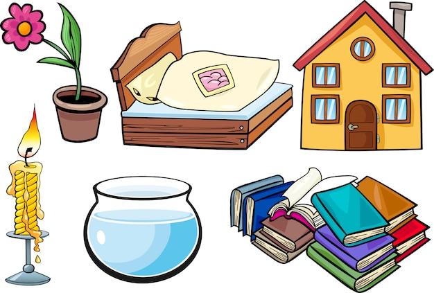 Zestaw ilustracji kreskówka obiektów gospodarstwa domowego
