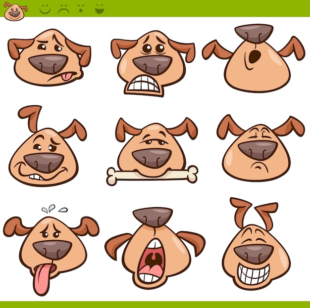 Zestaw ilustracji kreskówka pies emotikony