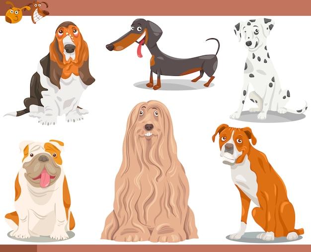 Zestaw ilustracji kreskówka rasy psów