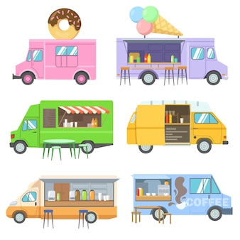Zestaw ilustracji kreskówki foodtrucków