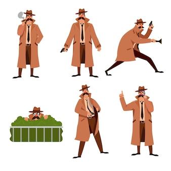 Zestaw ilustracji kreskówki prywatnego detektywa