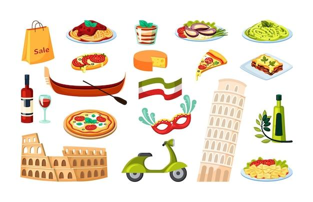 Zestaw ilustracji kultury włoskiej