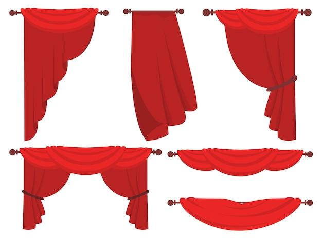 Zestaw ilustracji kurtyny o płaskich kształtach