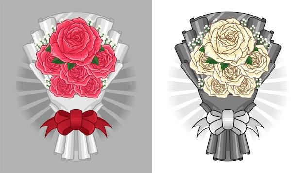 Zestaw ilustracji kwiat bukiet róż