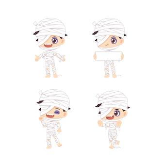 Zestaw ilustracji ładny chłopiec mumia