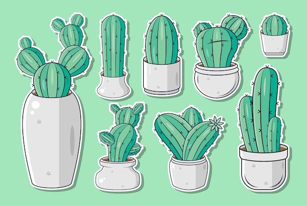 Zestaw ilustracji ładny kaktus