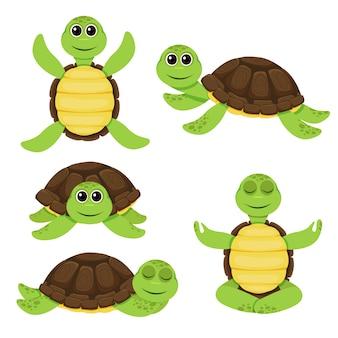 Zestaw ilustracji ładny żółw kreskówka