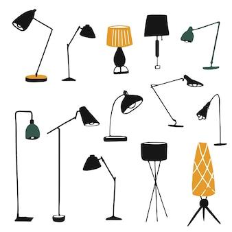 Zestaw ilustracji lamp stołowych i podłogowych ręcznie rysowane sylwetki nowoczesnych abażurów i żarówek