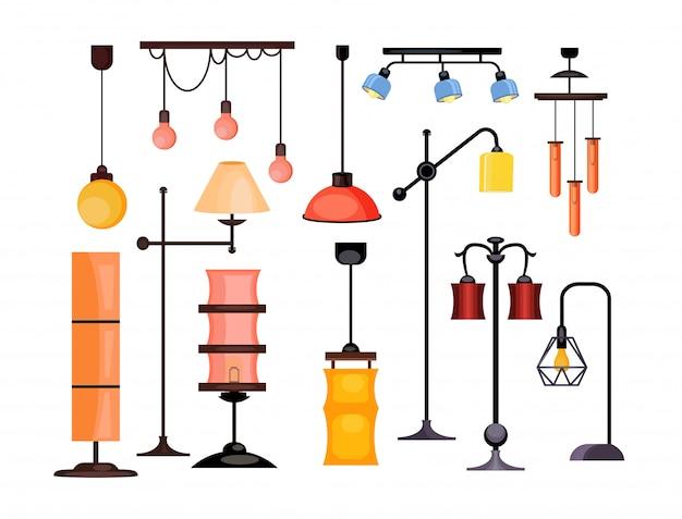 Zestaw ilustracji lampy