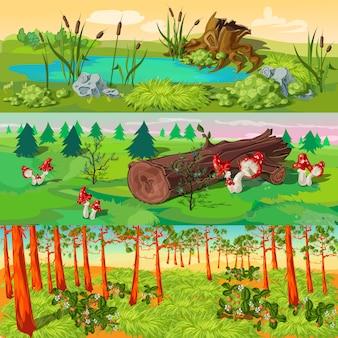 Zestaw ilustracji lasu