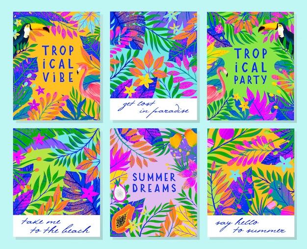 Zestaw ilustracji letnich z jasnymi liśćmi tropikalnymi, flamingiem, tukanem i owocami egzotycznymi. wielobarwne rośliny.