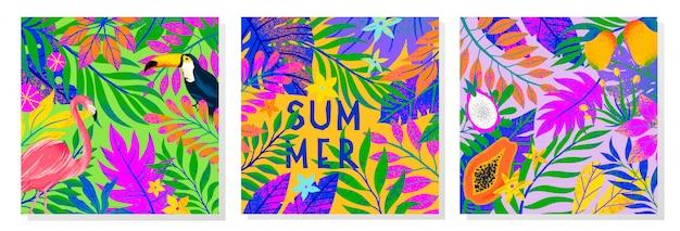 Zestaw ilustracji letnich z jasnymi liśćmi tropikalnymi, flamingiem, tukanem i owocami egzotycznymi. wielokolorowe rośliny. egzotyczne tła idealne na wydruki, ulotki, banery, zaproszenia, media społecznościowe.