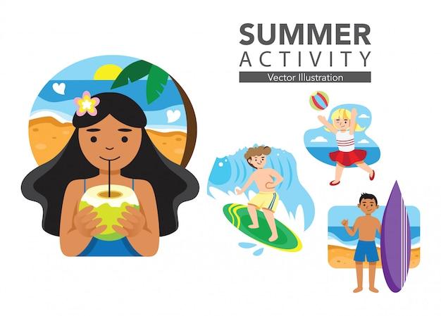 Zestaw ilustracji letniej aktywności