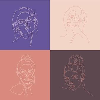 Zestaw ilustracji lineart głowy kobiety. jeden rysunek linii.