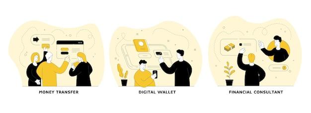 Zestaw ilustracji liniowych płaskich transakcji cyfrowych. przelew, portfel cyfrowy, konsultant finansowy. oszczędności osobiste, bankowość internetowa, transakcje elektroniczne. postaci z kreskówek ludzi