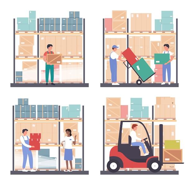Zestaw ilustracji logistyki magazynu. pracownicy kreskówek pracują w hurtowni magazynu, niosą pudełka, transportują i ładują paczki z zapasowym wózkiem widłowym na białym tle