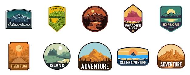 Zestaw ilustracji logo odznaka godło przygoda, góry, park krajobrazowy