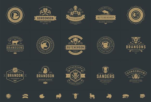 Zestaw ilustracji logo sklepu mięsnego